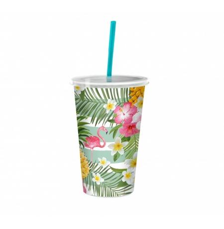Imagem do produto: Copo com Canudo Tropical 5854 - Decor tropical