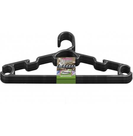 Imagem do produto: Kit Cabide 6 Peças 8990 - Preto