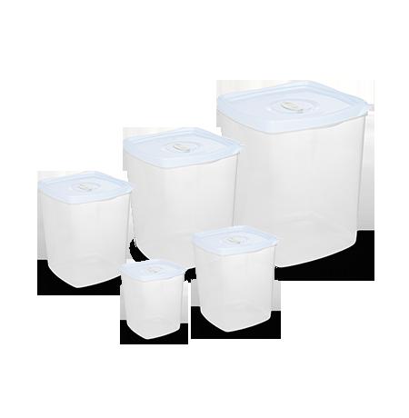 Imagem do produto: Conj. 5 Potes Quadrados 8300- Branco